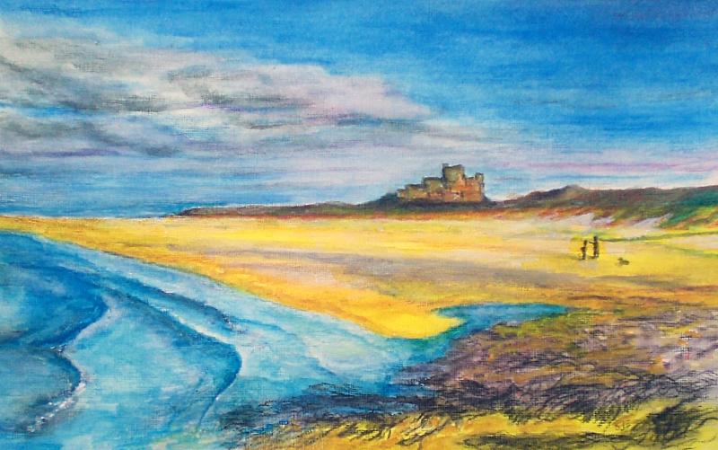 Bamburgh castle inktense